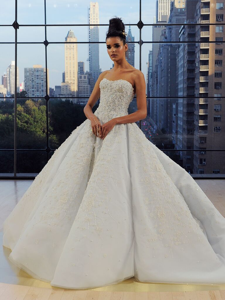 Ines Di Santo Fall 2018 encrusted grand sweetheart Tiffany ball gown with cathedral train