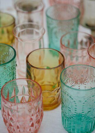 Mismatched Pastel Glassware   Frenzel Photography   Blog.TheKnot.com