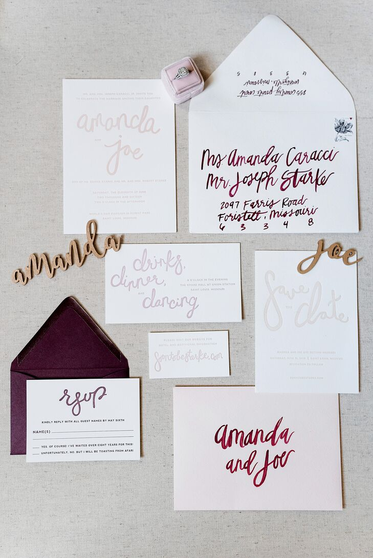 "Amanda, a graphic designer by trade, designed their invitation suite, incorporating her own hand lettering on the printed pieces. ""It was so fun to add my personal touch to the day and see my vision come to life,"" she says."