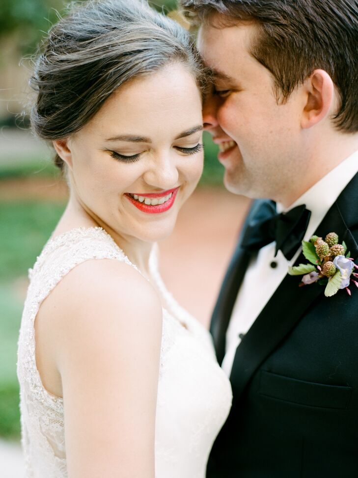 Classic Bride with Up-Do and Red Lipstick