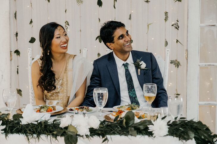Bohemian Hanging Leaf Sweetheart Table Backdrop