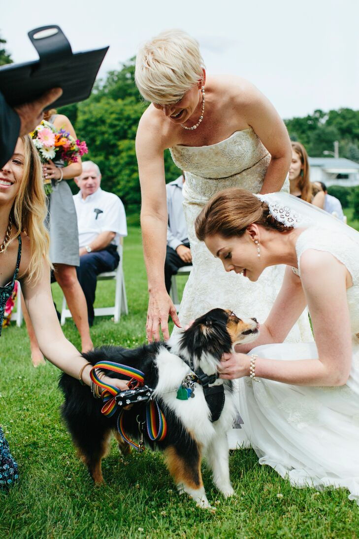 The couple's dog, Asa, acted as ring bearer, carrying the rings in a little pouch around his collar.