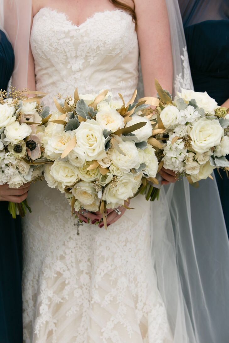 Ivory Bouquets With Metallic Gold Leaves