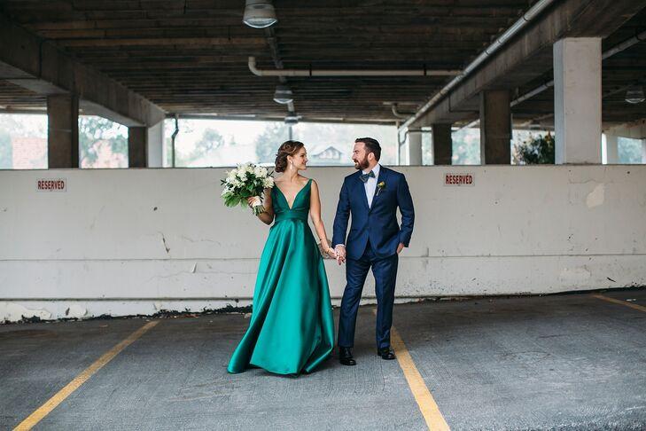 Bride in Emerald Dress at Boo Cat Club Wedding in St. Louis, Missouri