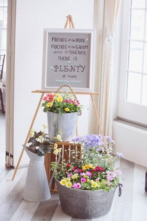 Colorful Wildflower Arrangements in Galvanized Buckets