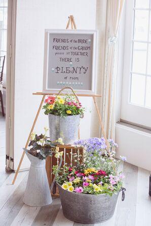 Colorful Wildflower Arrangements in Galvanized Buckets