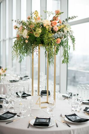 Round Tables with Elegant Tall Centerpieces