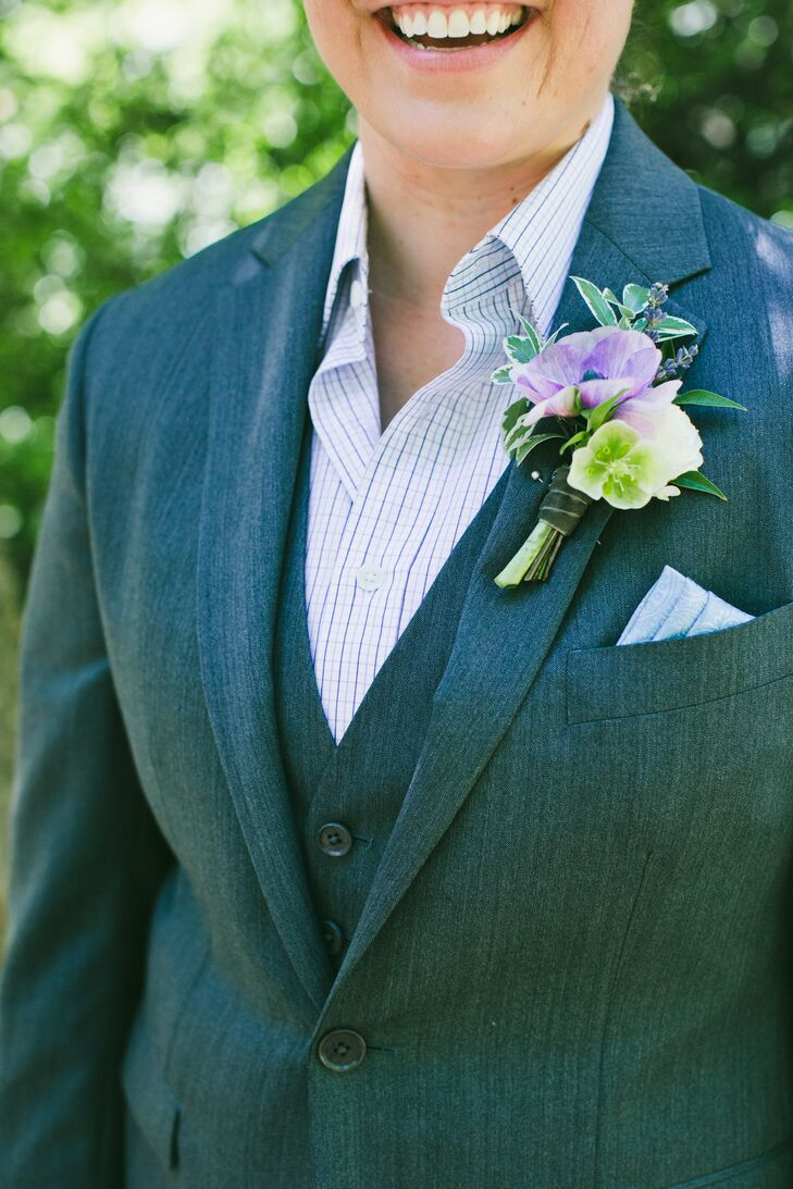 Purple Anemone Boutonniere with Grey Suit