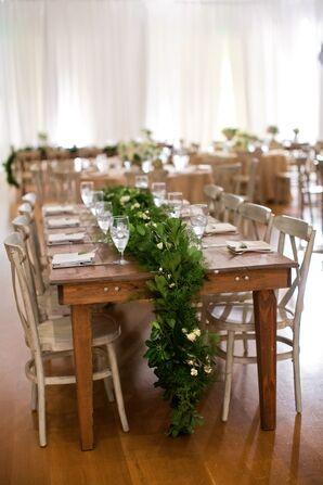 Rustic Wooden Dining Table Leafy Garland
