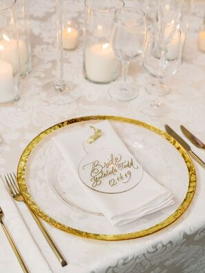 Lucite Place Setting at Glamorous Winter Wedding