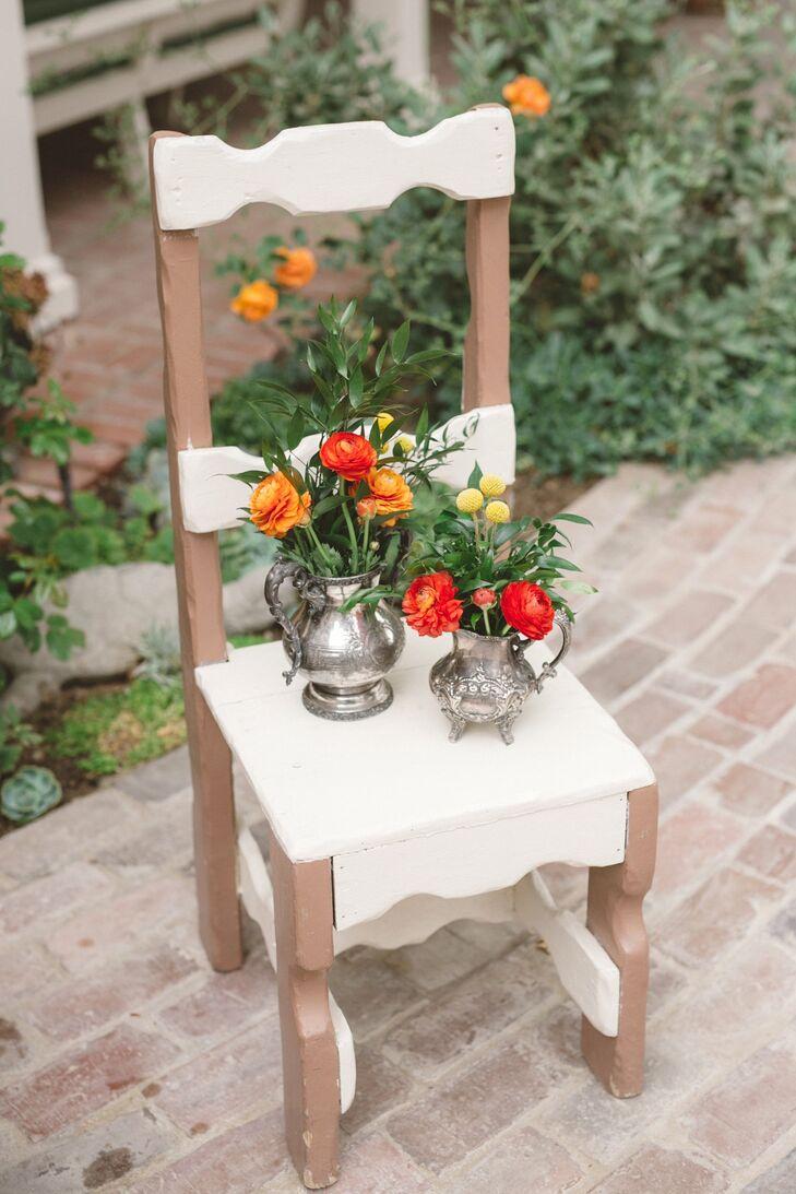 Colorful Ranunculus in Silver Vases