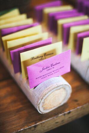 DIY Pink and Yellow Escort Cards