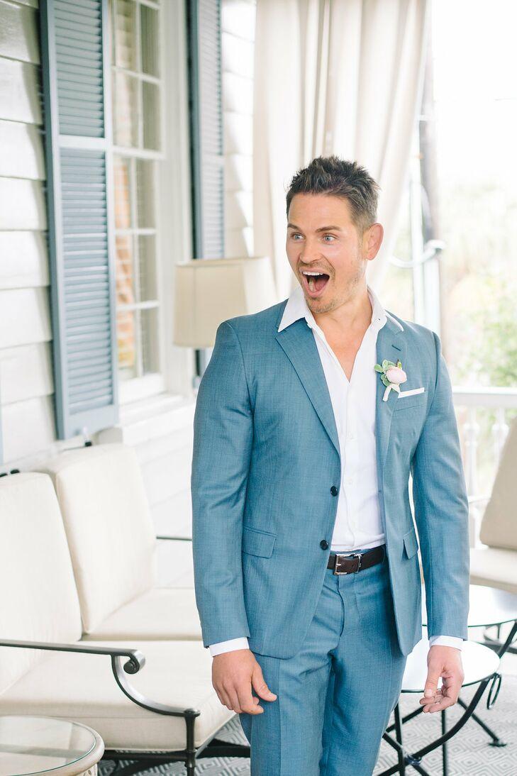 Blue Prada Groom's Suit
