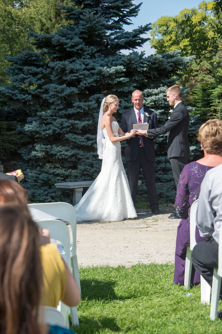 The ceremony was held outdoors on a beautiful summer day at Boerner Botanical Garden in Hales Corner, Wisconsin.