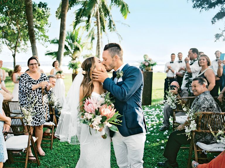 couple kiss at destination wedding
