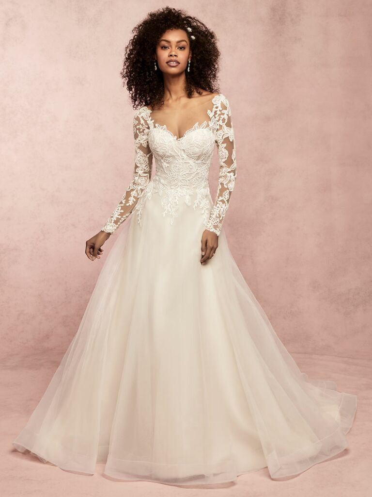 Rebecca Ingram Spring 2019 long sleeve wedding dress with tulle skirt and lace bodice