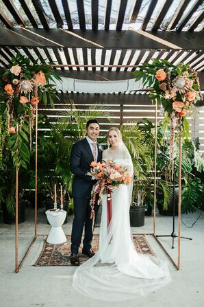 Couple Under Chuppah for Jewish Wedding Ceremony at Fancy Free Nursery in Tampa, Florida