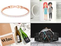 Collage of four 15-year anniversary gift ideas