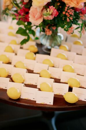 Lemon Escort Card Display for Florida Wedding