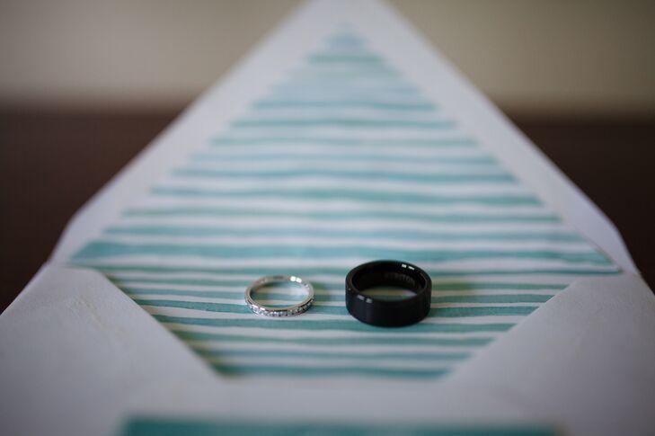 Diamond and Black Tungsten Wedding Bands