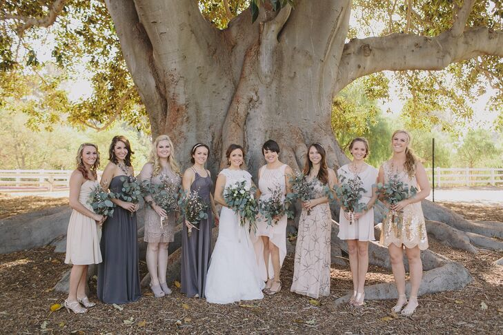 """I loved the idea of bridesmaids wearing their own style dress and picking something they would love outside of a wedding,"" Melanie says. ""I gave them a general color palette and they decided from there. I couldn't be more happy with how that turned out."""