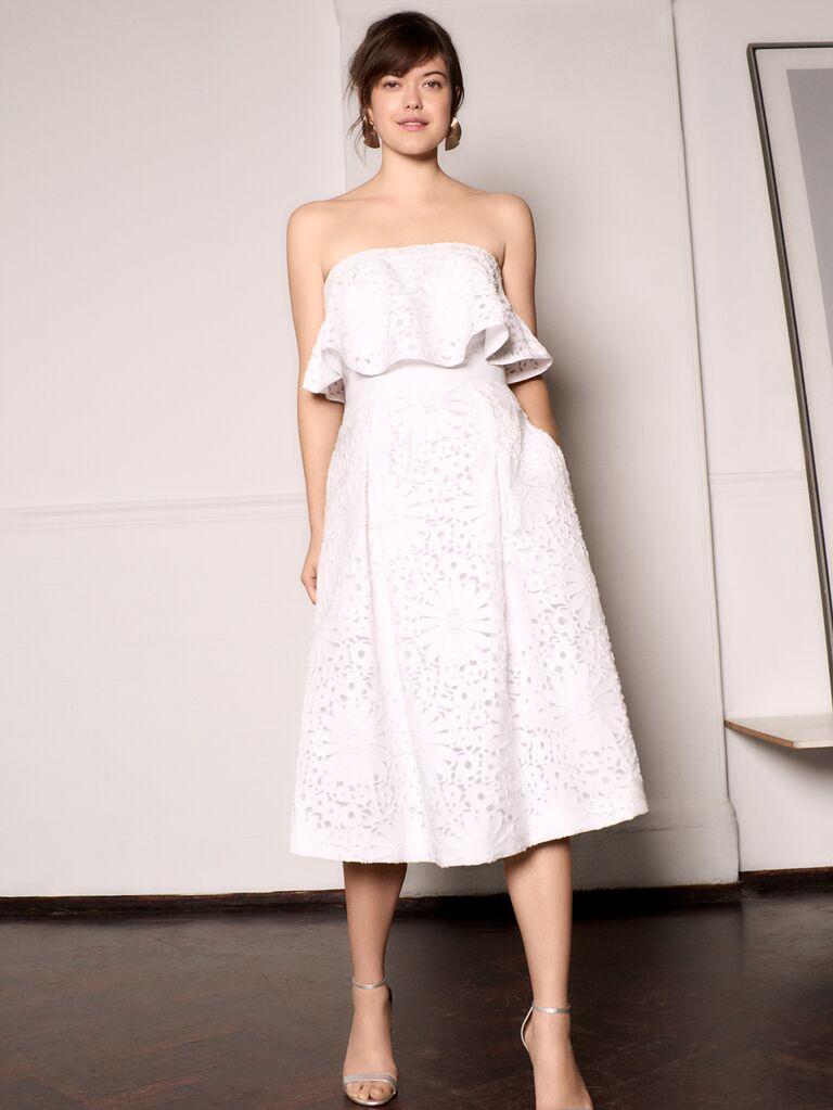 Whistles Wedding 2019 Bridal Collection strapless eyelet tea-length wedding dress