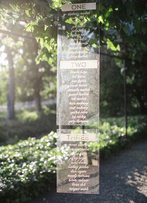 Lucite Hanging Seating Chart at California Wedding