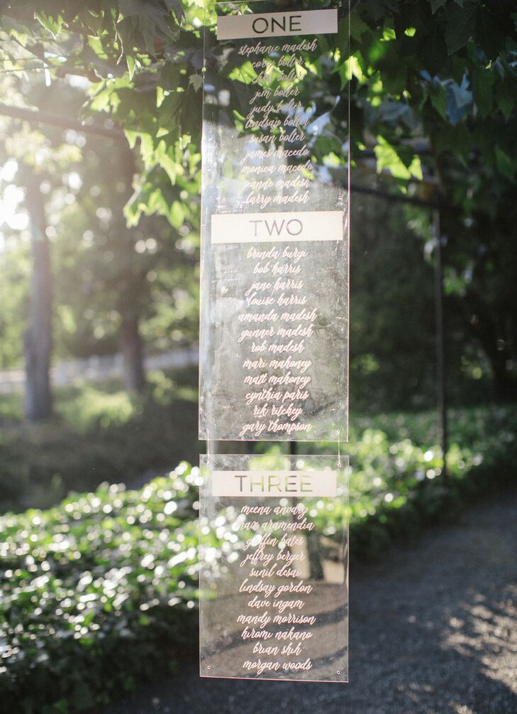 Lucite Hanging Seating Chart at California Wedding