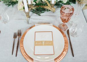 Place Setting with Copper Flatware and Charger and a Vintage Pink Goblet