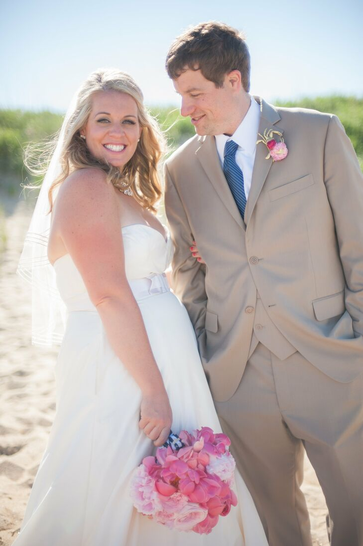 """Although their wedding took place steps from the beach, Katey and Matt didn't want a traditional beach theme. """"We wanted the ocean to serve as an amazing backdrop minus sand and seashells as decor,"""" says Katey. """"Our wedding vision was classic Kate Spade, prep-meets-the Outer Bands."""""""
