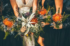 Air Plant and Pincushion Protea Bouquets for Wedding at Lock Haven Park in Orlando, Florida