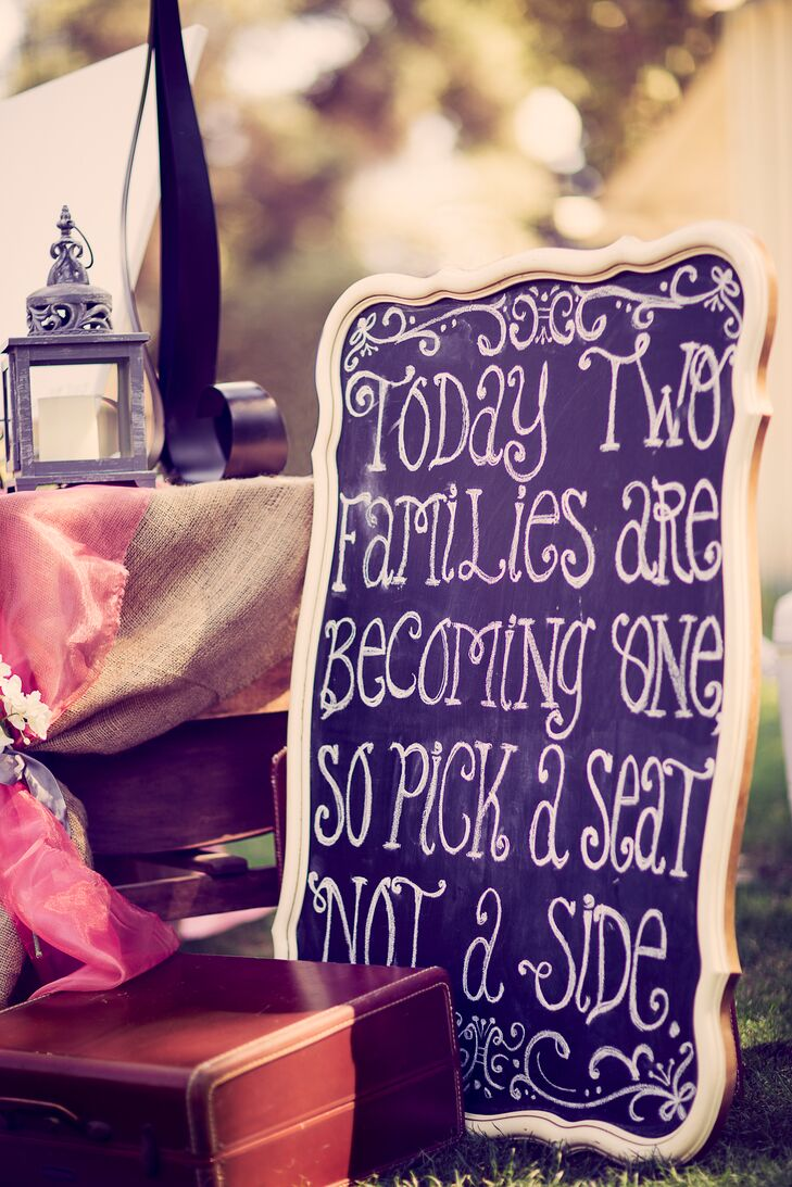 Outdoor Ceremony with Chalkboard Decor