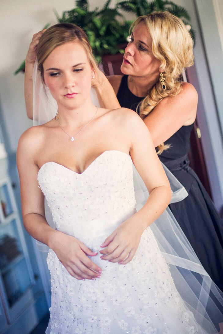 Bride Getting Ready in Strapless Ball Gown