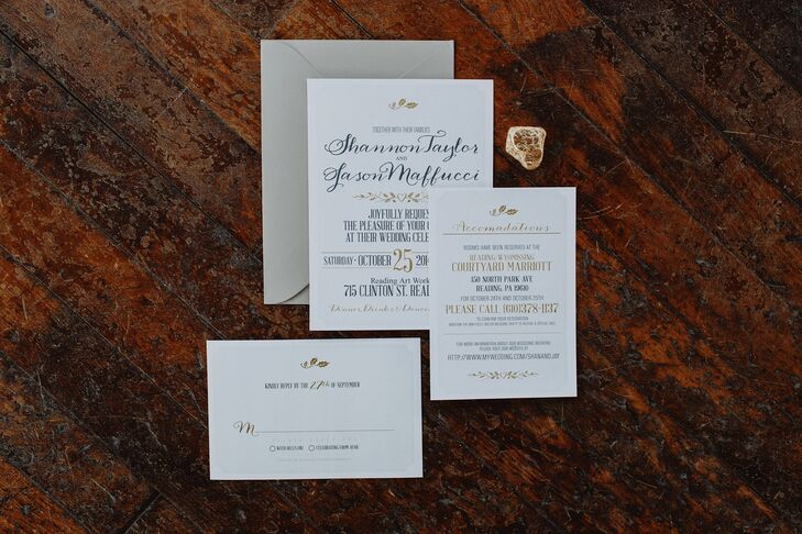 Jason's brother-in-law is a graphic designer with his own company, so he put his creative talent to work for the couple's stationery and paper goods. Shannon and Jason had him design everything from the invitations to the programs and menu cards, each element boasting a simple yet whimsical design aesthetic with understated fall details like golden leaves playing up the wedding's rustic, autumnal vibe.