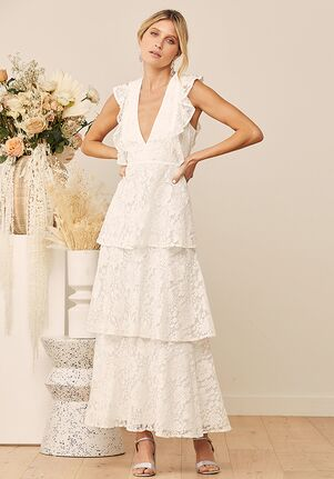 Lulus Molinetto White Lace Ruffled Tiered Sleeveless Maxi Dress A-Line Wedding Dress