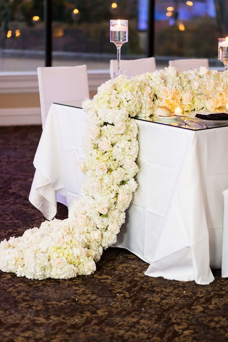 Glamorous Table Runner with White Roses and Hydrangeas