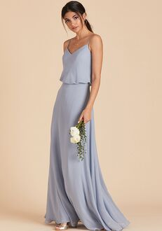 Birdy Grey Gwennie Bridesmaid Dress in Dusty Blue V-Neck Bridesmaid Dress