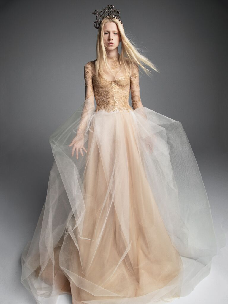 Vera Wang Fall 2019 Bridal Collection gold sheer A-line wedding dress with tulle skirt