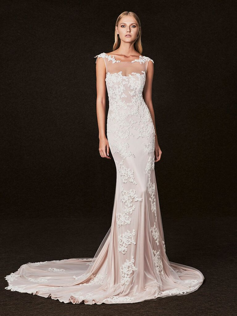 Victoria Kyriakides Fall 2017 sheer illusion neckline wedding dress with blush underlay and floral applique overlay