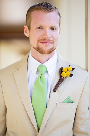 Groom in a Khaki Suit, Green Tie and Craspedia Boutonniere