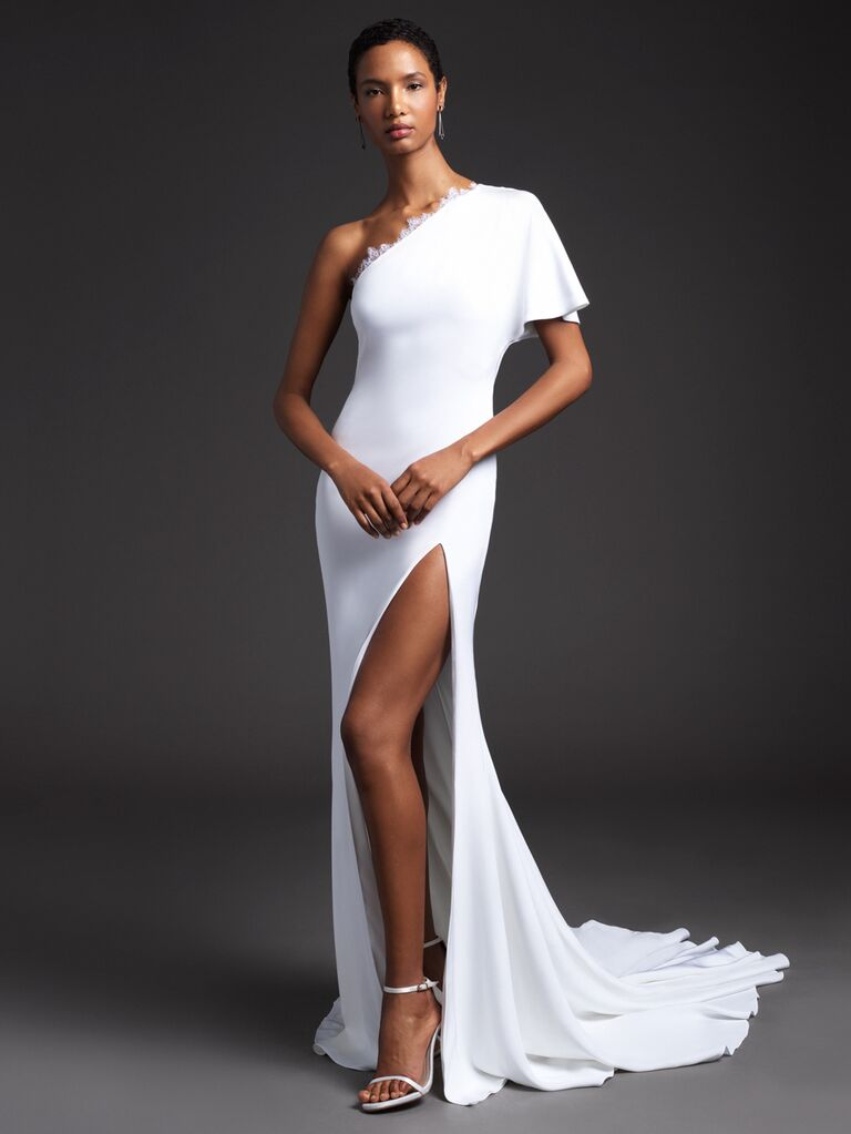 Cushnie Spring 2020 Bridal Collection asymmetrical one-shoulder wedding dress with high slit