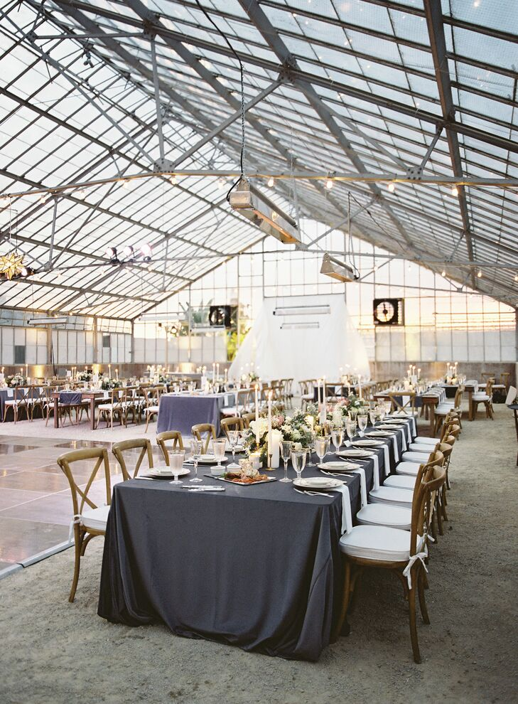 Greenhouse Reception with Long Tables and Grey Tablecloths