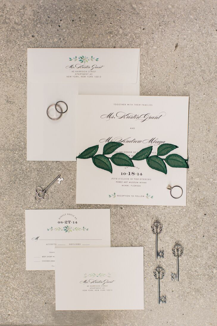 Using their inspiration board from Luxe Fete as a reference, Sarah Rusin Design went to work on a classic ivory invitation suite that fully represented both their tastes. Every piece was lined with a simple yet elegant garland detail in shades of green and blue. The wrap, however, caught the most attention with an unexpected leaf applique.
