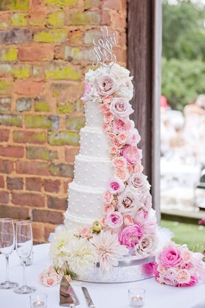Six-Tier Wedding Cake With Blush Flower Cascade