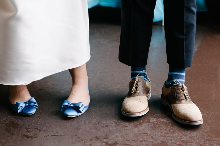 Blue Bow BHLDN Bridal Shoes