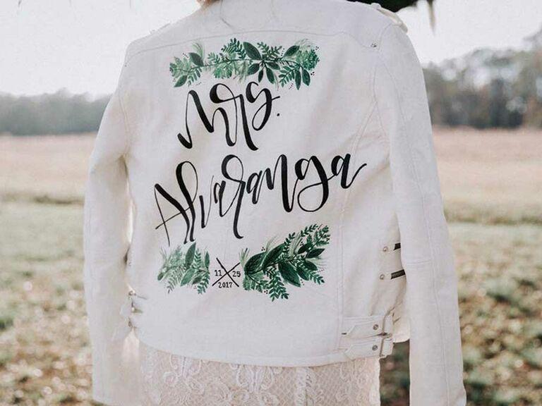 Custom hand-painted wedding jacket