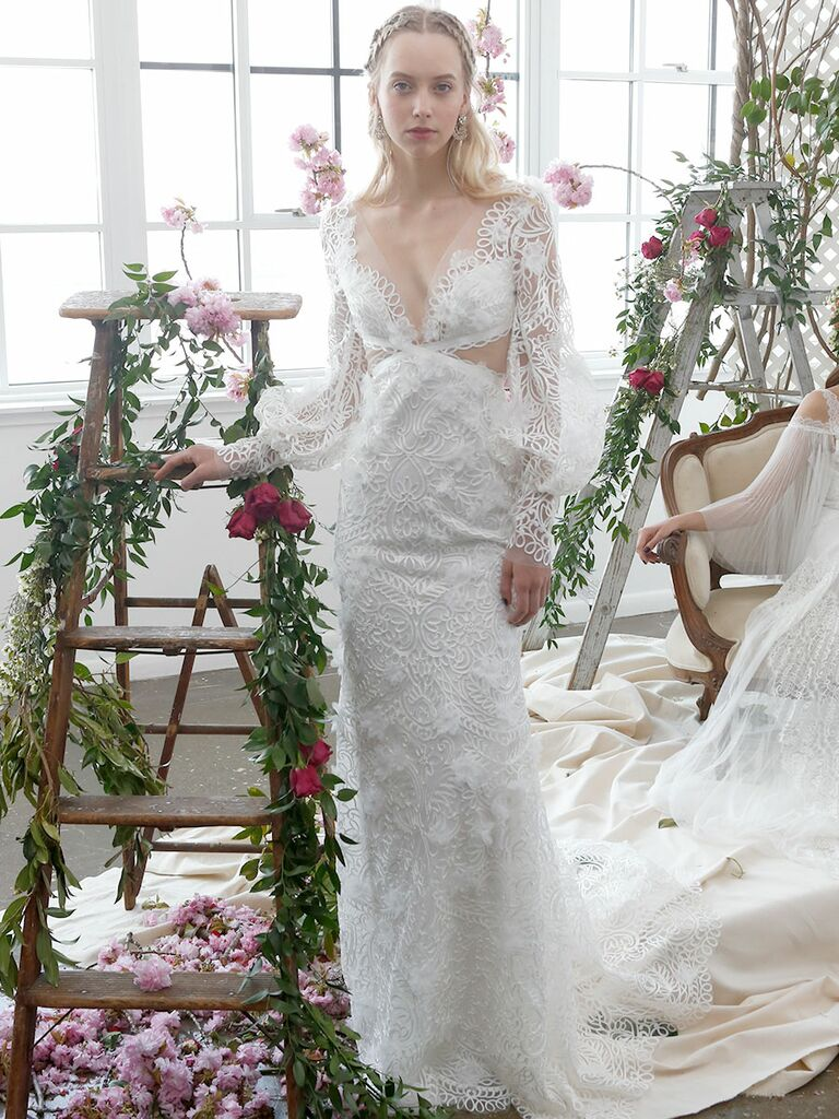 22114ed84c24 Marchesa Notte Bridal Spring 2018 column wedding gown with beaded  embellishments