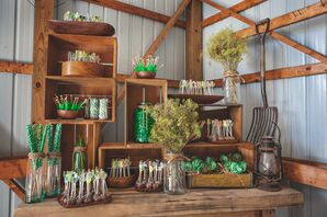 Rustic Wooden Dessert Table with Green Candy