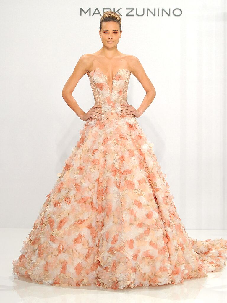Blush Pink Strapless Wedding Gown With Fl Embellishments By Mark Zunino