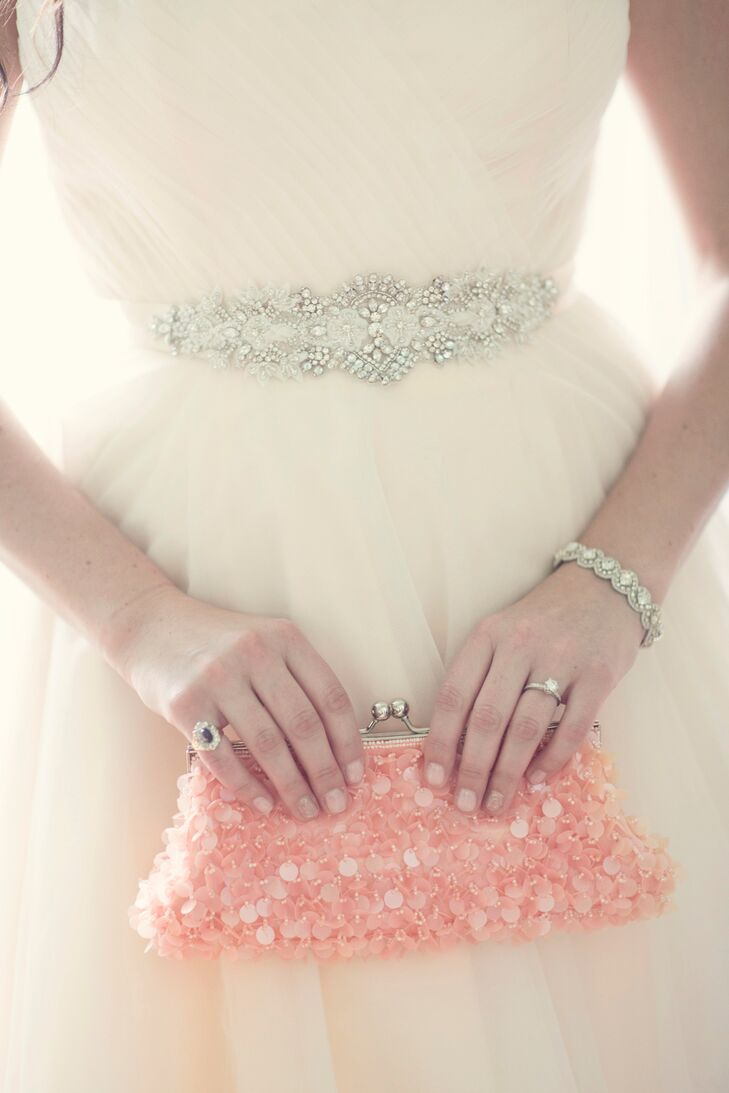 Bridal Accessories with Beaded Sash, Jewelry, and Pink Sequined Clutch